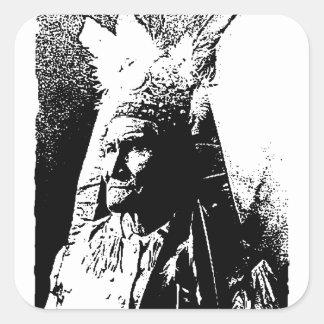 Schwarzes u. weißes Geronimo Quadratischer Aufkleber
