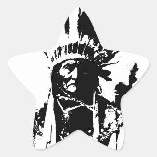Schwarzes u. weißes Geronimo Stern-Aufkleber