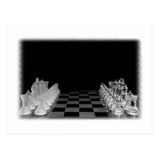 Schwarzes u. weißes gespenstisches Glasschach-Bret Postkarten