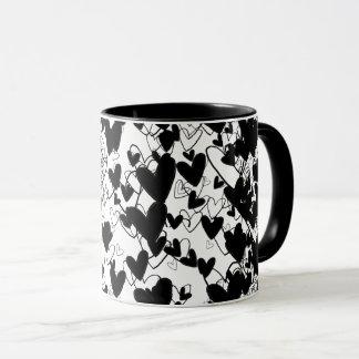Schwarzes u. weißes Herz-Muster-drastisches Tasse
