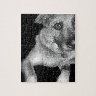 Schwarzes u. weißes Hundeporträt handgemalt Puzzle