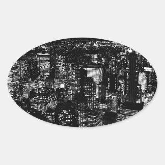 Schwarzes u. weißes New York Ovaler Aufkleber