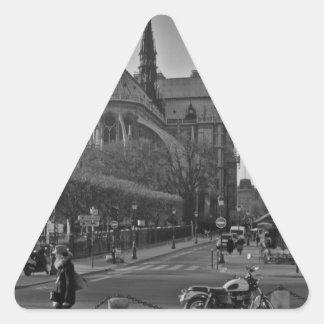 Schwarzes u. weißes Paris Notre Dame Dreieckiger Aufkleber