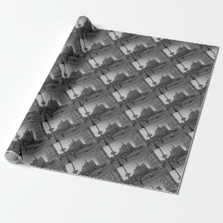 Schwarzes u. weißes Paris Notre Dame Geschenkpapier