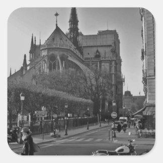 Schwarzes u. weißes Paris Notre Dame Quadratischer Aufkleber