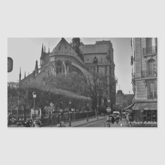 Schwarzes u. weißes Paris Notre Dame Rechteckiger Aufkleber