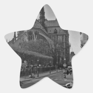 Schwarzes u. weißes Paris Notre Dame Stern-Aufkleber
