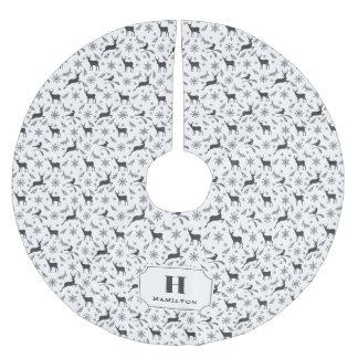 Schwarzes u. weißes Ren-Muster-Monogramm Polyester Weihnachtsbaumdecke