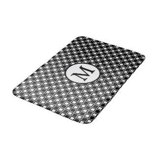 Schwarzes u. weißes Schachbrett-Brett-Muster mit Badematte