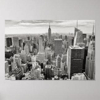 Schwarzes u. weißes Skyline-Plakat New York Poster