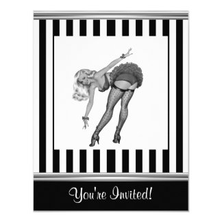 Schwarzes u. weißes Streifen-Pin-up-Girl 19 10,8 X 14 Cm Einladungskarte