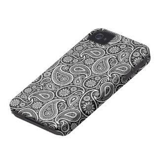 Schwarzes u. weißes verziertes Retro iPhone 4 Case-Mate Hüllen