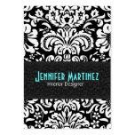 Schwarzes u. weißes Vintages Blumendamast-Muster 4 Visitenkarten Vorlage