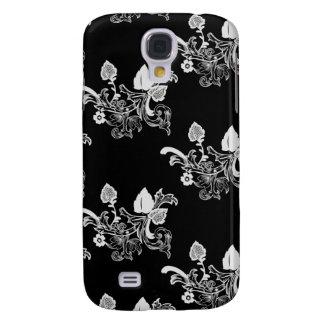 Schwarzes u. weißes Vintages Blumenmuster Galaxy S4 Hülle