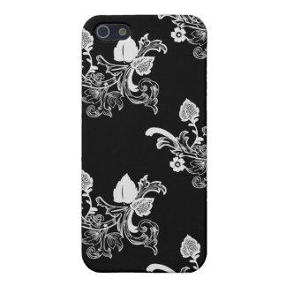 Schwarzes u. weißes Vintages Blumenmuster iPhone 5 Etuis