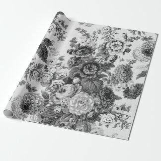 Schwarzes u. weißes Vintages botanisches Geschenkpapier