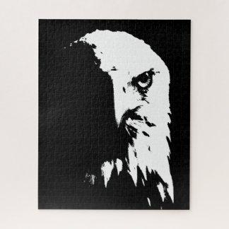 Schwarzes u. weißes Weißkopfseeadler-Puzzlespiel Puzzle