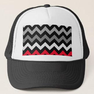 Schwarzes u. weißes Zickzack mit rotem Streifen Truckerkappe