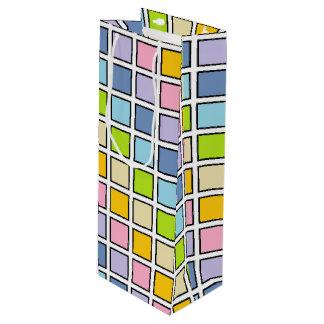 Schwarzes umrissene Pastellregenbogen-Quadrate Geschenktüte Für Weinflaschen