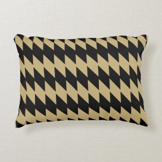 Schwarzes und Altgold-gezacktes Muster-Kissen Zierkissen