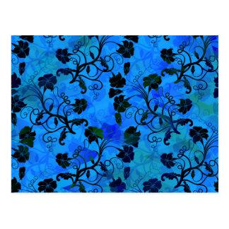 Schwarzes und blaues abstraktes mit Blumenmuster Postkarte