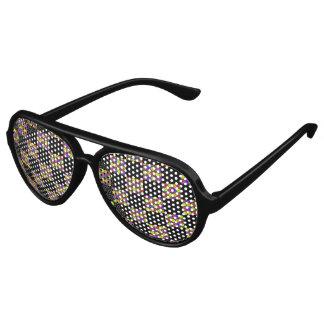 Schwarzes und Blumen-Schachbrett-Muster Sonnenbrille