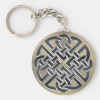 Schwarzes und Bronzemetallkeltischer Knoten Schlüsselanhänger