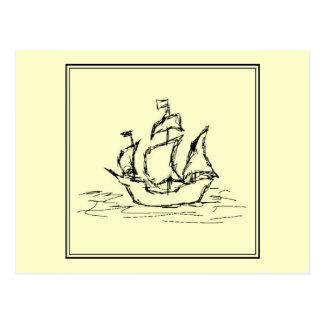 Schwarzes und Creme. Hohes Schiff. Segeln-Schiff Postkarte