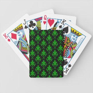 Schwarzes und dunkelgrünes verziertes bicycle spielkarten