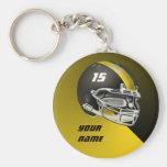 Schwarzes und gelbes GoldFootball-Helm Schlüsselanhänger