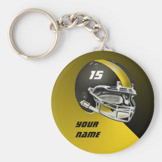 Schwarzes und gelbes GoldFootball-Helm Standard Runder Schlüsselanhänger