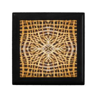 Schwarzes und gelbes Kaleidoskoppelzmuster Geschenkbox