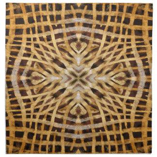 Schwarzes und gelbes Kaleidoskoppelzmuster Serviette
