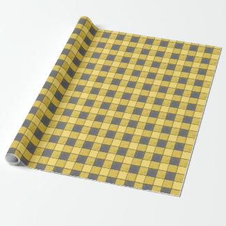 Schwarzes und gelbes kariertes geschenkpapier