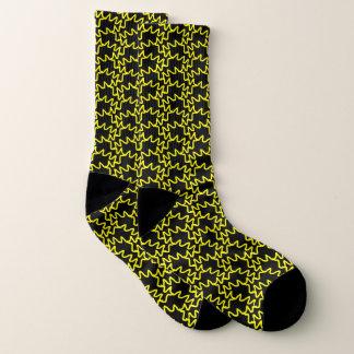 Schwarzes und gelbes Squiggles-Muster Socken