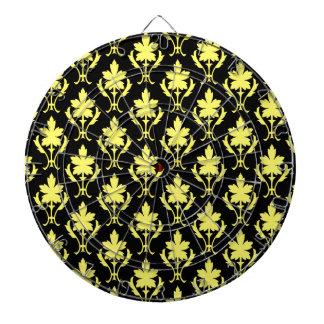 Schwarzes und gelbes verziertes Tapeten-Muster Dartscheibe