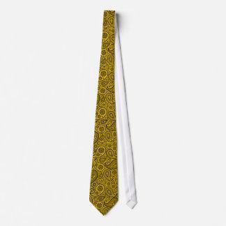 Schwarzes und gelbes Vintages Paisley-Muster Krawatte
