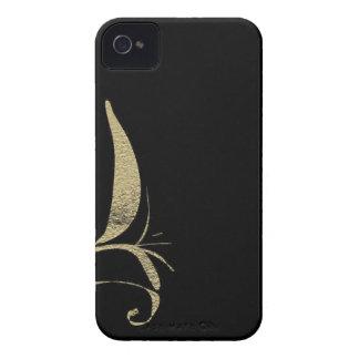 Schwarzes und Gold blühen Muster-Entwürfe Case-Mate iPhone 4 Hülle