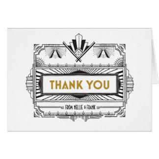 Schwarzes und Gold großer Gatsby danken Ihnen Grußkarte