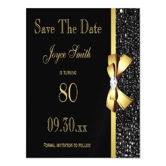 Schwarzes und Gold irgendein Alters-Geburtstag Magnetische Karte