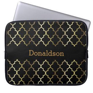 Schwarzes und Gold Quatrefoil Laptop Sleeve