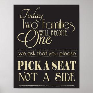 Schwarzes und Gold wählen Seat nicht ein Poster