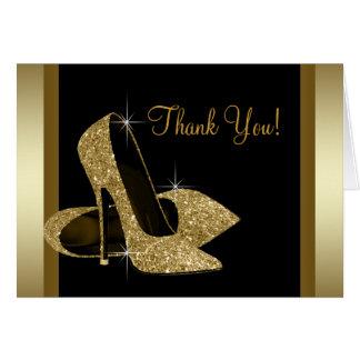 Schwarzes und GoldAbsatz-Schuh danken Ihnen Karte