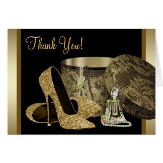 Schwarzes und GoldAbsatz-Schuhe danken Ihnen Karte