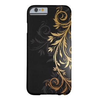 Schwarzes und Goldblumenrebe Barely There iPhone 6 Hülle