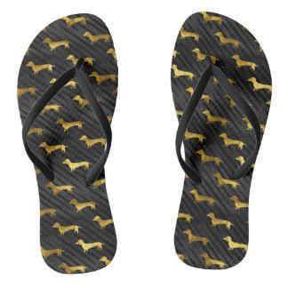 Schwarzes und GoldDackel-Muster Flip Flops