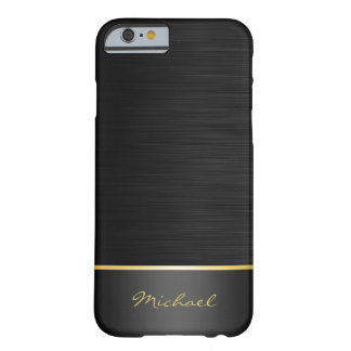Schwarzes und GoldEdelstahlmuster mit Namen Barely There iPhone 6 Hülle