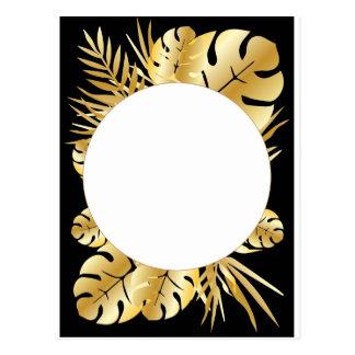 Schwarzes und Goldelegante tropische Postkarte