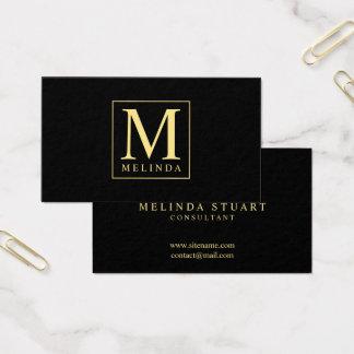 Schwarzes und Goldelegantes Monogramm Visitenkarte