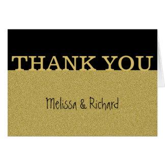 Schwarzes und GoldGlitter-Hochzeit danken Ihnen Karte